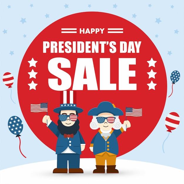 フラットなデザイン、かわいい漫画のエイブラハムリンカーンとジョージワシントン、大統領の日セール