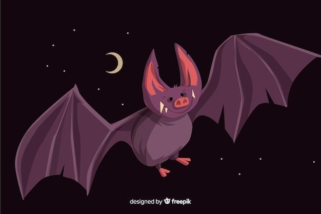 Flat design of cute halloween bat