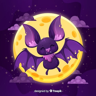 Flat design of cute halloween bat