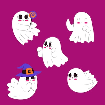 Flat design cute halloween ghost collection