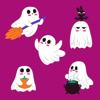 Flat design cute halloween ghost set