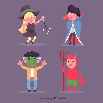 Flat design of cute halloween kid collection