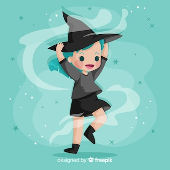 Flat design cute halloween witch