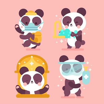 Flat design cute panda in time of coronavirus