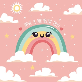 Flat design cute rainbow