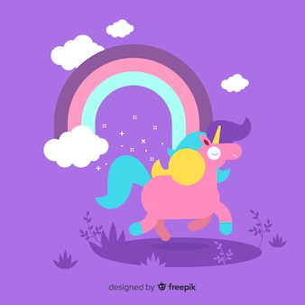 Flat design cute unicorn background