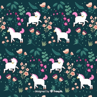 Flat design cute unicorn pattern
