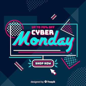 Flat design cyber monday background