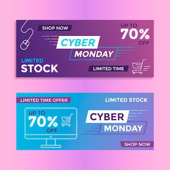 Flat design cyber monday banners collection