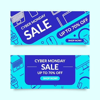 Flat design cyber monday banners set