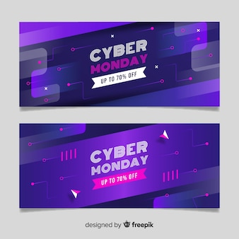 Flat design cyber monday banners template