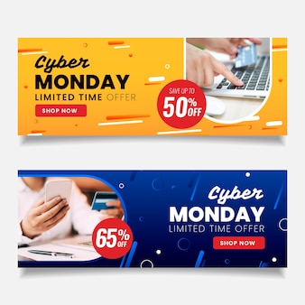 Flat design cyber monday banners with photo