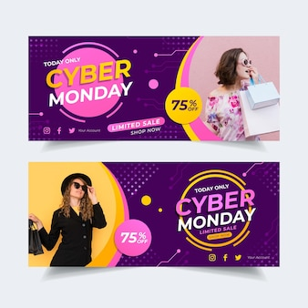 Flat design cyber monday banners with photo Free Vector