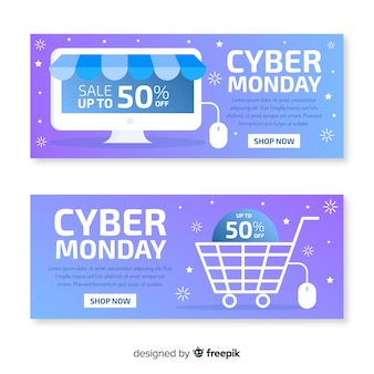 Flat design of cyber monday banners