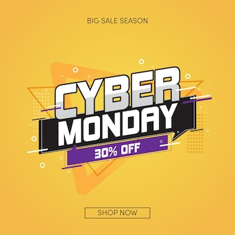 Flat design cyber monday big sale season