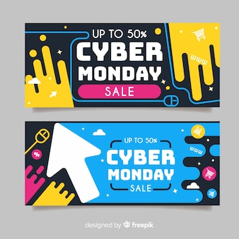 Flat design cyber monday business template