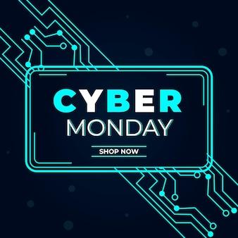 Concetto di design piatto cyber lunedì