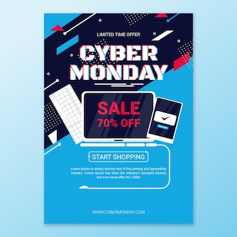 Flat design cyber monday flyer template products on sale