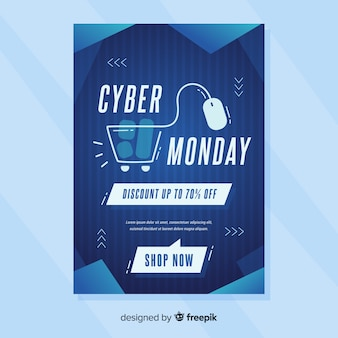 Flat design of cyber monday flyer template