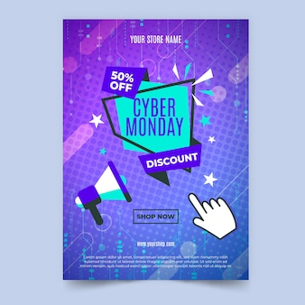 Flat design cyber monday flyer template