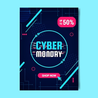 Flat design cyber monday flyer template