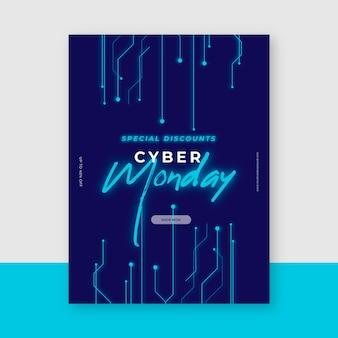 Modello di volantino cyber lunedì design piatto