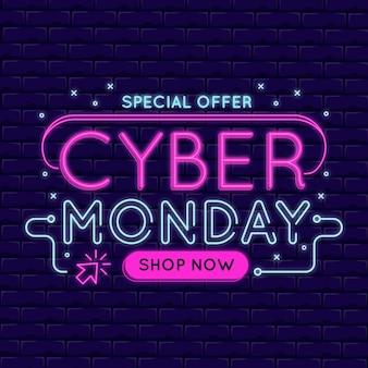 Luci al neon di cyber lunedì design piatto
