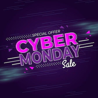 Flat design cyber monday offer banner template