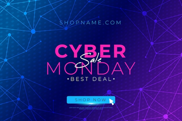 Flat design cyber monday offer banner