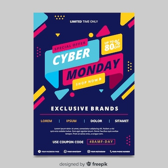 Flat design cyber monday poster template