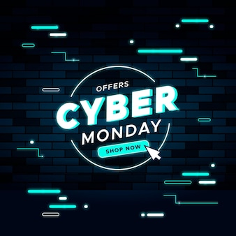 Flat design cyber monday sale banner template
