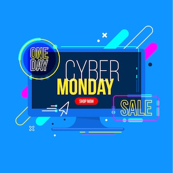 Flat design cyber monday sale banner