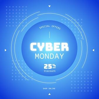 Flat design cyber monday sale promo