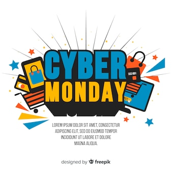 Flat design cyber monday wallpaper