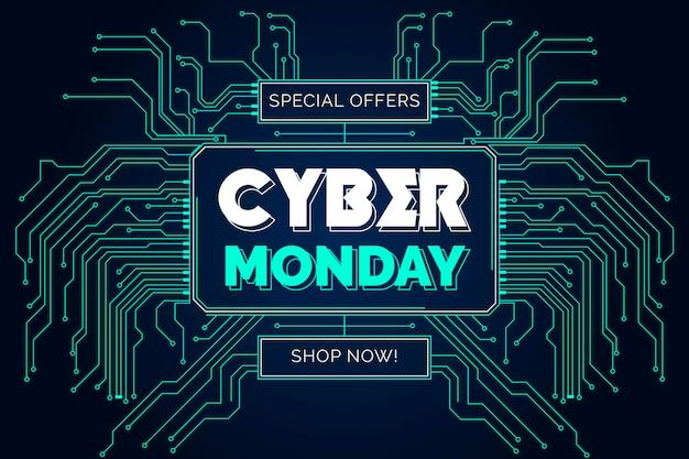 Flat design cyber monday with circuits