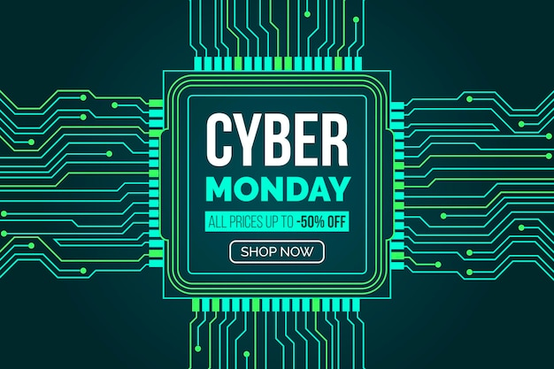 Flat design cyber monday with motherboard circuits