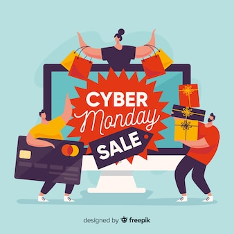 Flat design of cyber monday with people and gifts