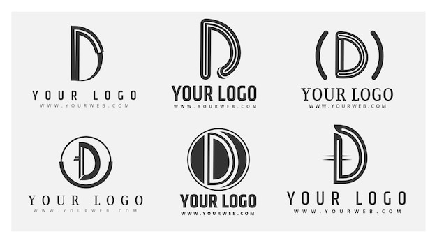 Flat design d logo collection