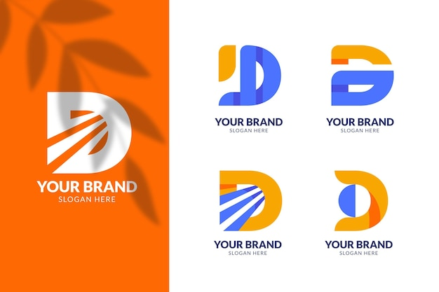 Flat design d logo template collection