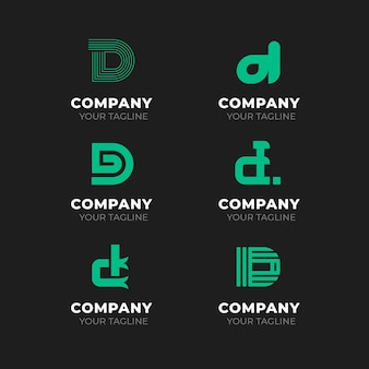 Flat design d logos collection