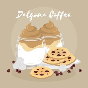 Плоский дизайн далгона кофе иллюстрация