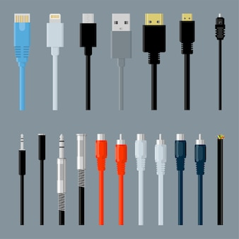 Flat design data, video and audio, usb, hdmi, network data cable connectors  design element set