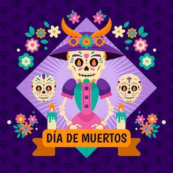 Flat design day of the dead background