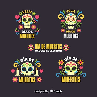 Flat design day of the dead badge collection