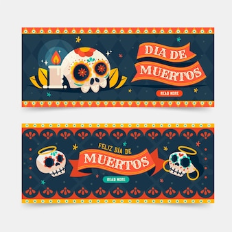 Flat design day of the dead banner template