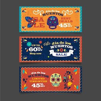 Giorno di design piatto della collezione di banner morti