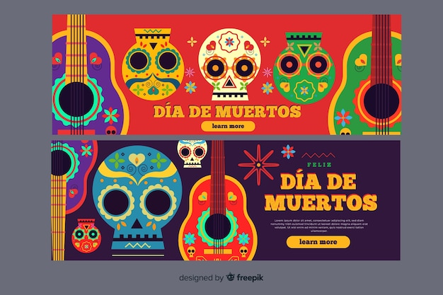 Flat design day of the dead banners