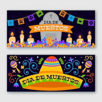 Flat design day of the dead horizontal banners