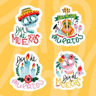 Giorno di design piatto della collezione di etichette morte