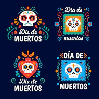 Flat design day of the dead label set